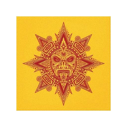 Rojo azteca de la máscara de Sun en amarillo Impresiones En Lona