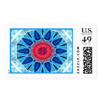 Rojo azul de Jánuca y sello grande de la mandala