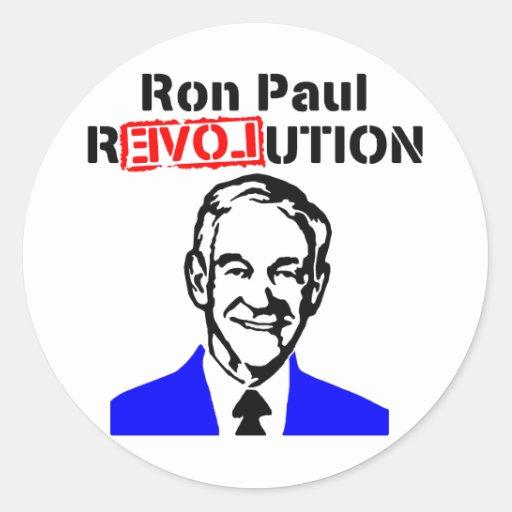 Rojo azul de la revolución n de Ron Paul Etiquetas Redondas