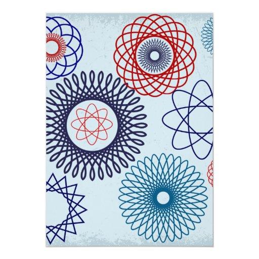 Rojo azul del modelo geométrico enrrollado del invitacion personalizada