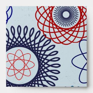 Rojo azul del modelo geométrico enrrollado del Spi Sobre