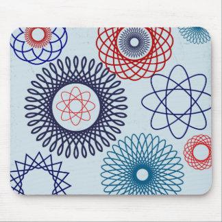 Rojo azul del modelo geométrico enrrollado del Spi Tapetes De Raton