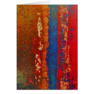 Rojo, azul, saludo abstracto del oro, en blanco tarjeta de felicitación