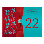 Rojo bilateral, tarjeta floral del número de la ta postal