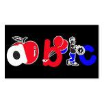 Rojo, blanco, azul y negro, logotipo del alfabeto  tarjeta de negocio