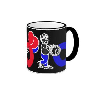 Rojo, blanco, azul y negro, logotipo del alfabeto taza de dos colores