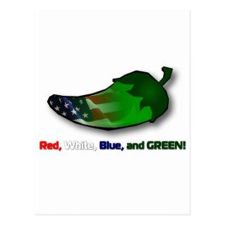 Rojo blanco azul y verde postal