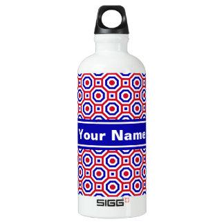 Rojo/blanco/botella de agua jerarquizada azul del