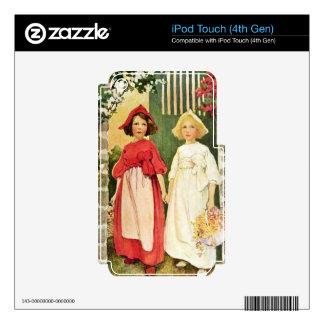 Rojo blanco como la nieve y color de rosa iPod touch 4G calcomanía