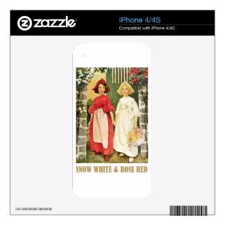 Rojo blanco como la nieve y color de rosa skins para eliPhone 4S