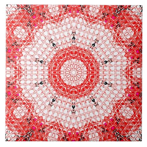 Rojo/blanco de cristal del mosaico del efecto azulejo cuadrado grande