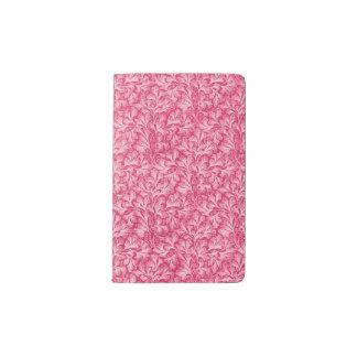 Rojo blanco de la hoja floral del cordón del funda para libreta y libreta pequeña moleskine