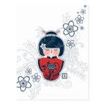rojo blanco de la marina de guerra del kokeshi tarjetas postales