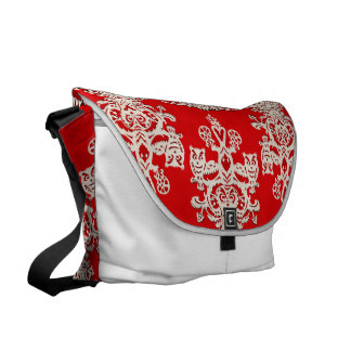 Rojo-blanco hueco del búho bolsas messenger