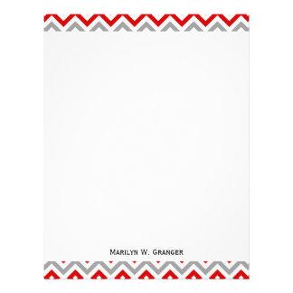 Rojo, blanco, modelo de zigzag grande gris de DK Membrete