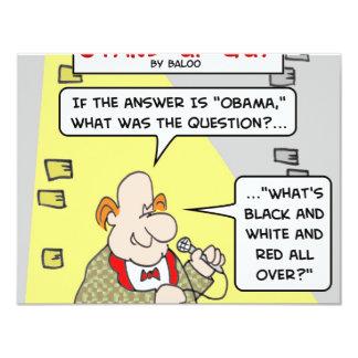 """rojo blanco negro de obama encima invitación 4.25"""" x 5.5"""""""