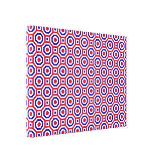 Rojo/blanco/octágono jerarquizado azul envolvió la impresiones en lienzo estiradas