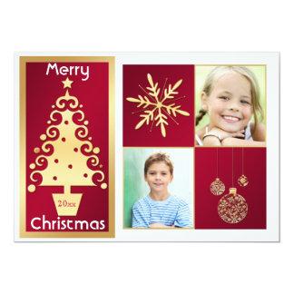 """Rojo, blanco, tarjeta de Navidad del árbol de Invitación 5"""" X 7"""""""