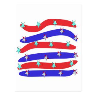 Rojo, blanco y azul con las estrellas tarjeta postal