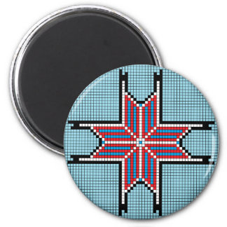 Rojo blanco y azul - estrella acentuada ocho iman de nevera