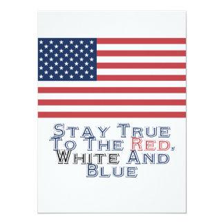 Rojo, blanco y azul invitación 13,9 x 19,0 cm