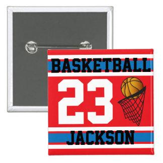 Rojo, blanco y azul personalizados del baloncesto pin cuadrada 5 cm
