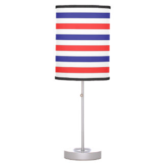 Rojo, blanco y azul rayados lámpara de mesa