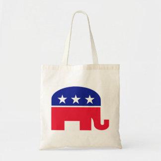 Rojo, blanco y azul republicanos del elefante bolsa tela barata