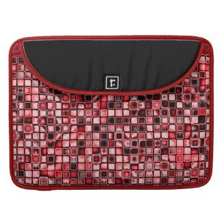 Rojo, blanco y modelo de rejilla texturizado negro funda macbook pro