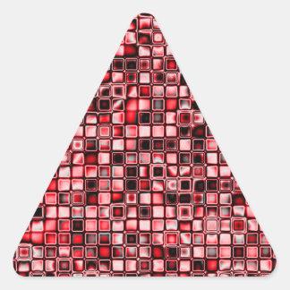 Rojo blanco y modelo de rejilla texturizado negro pegatina de triangulo