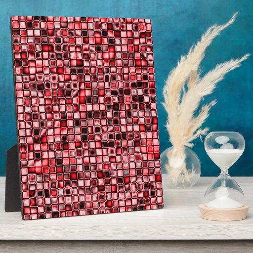 Rojo, blanco y modelo de rejilla texturizado negro placas con foto