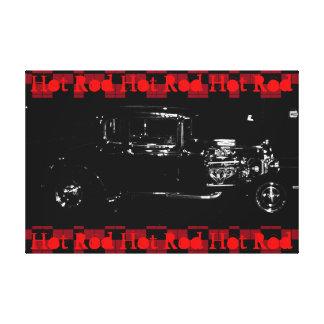 Rojo blanco y negro de la lona de arte de Rod del Impresiones En Lona Estiradas