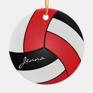 Rojo, blanco y negro personalice el voleibol adorno navideño redondo de cerámica