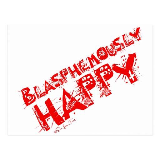 Rojo blasfemo feliz postales