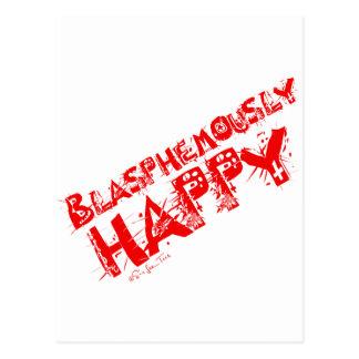 Rojo blasfemo feliz tarjeta postal
