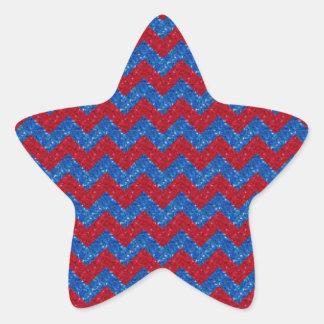 Rojo brillado y azul de Chevron Pegatina En Forma De Estrella