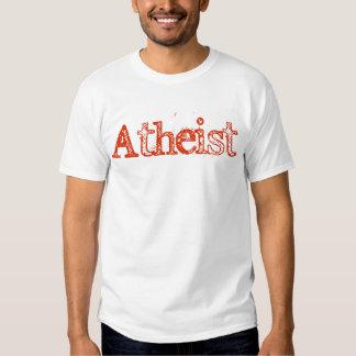 Rojo brillante ateo remeras