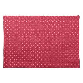 Rojo brillante con Pindots blanco Placemat Mantel Individual