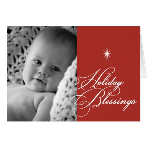 Rojo brillante de la foto del navidad de la tarjeta de felicitación