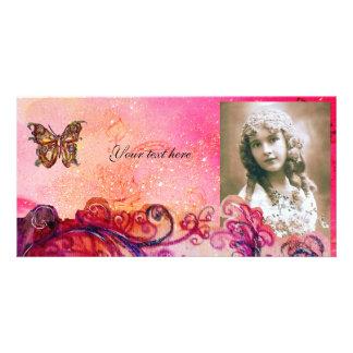 Rojo brillante de los FLOURISHES CAPRICHOSOS, púrp Tarjeta Personal Con Foto