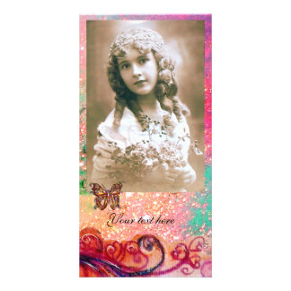 Rojo brillante de los FLOURISHES CAPRICHOSOS, verd Tarjetas Personales Con Fotos