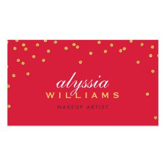Rojo brillante del mini del confeti brillo brillan tarjeta de visita