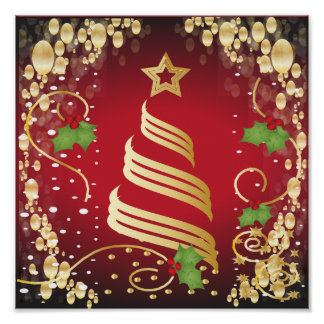 Rojo brillante festivo y oro de las Felices Poster
