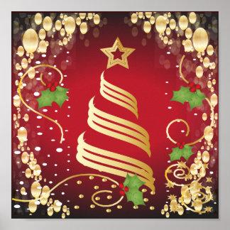 Rojo brillante festivo y oro de las Felices Póster