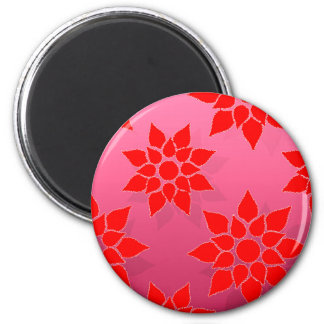 Rojo brillante sobre diseño floral de color rosa imán redondo 5 cm