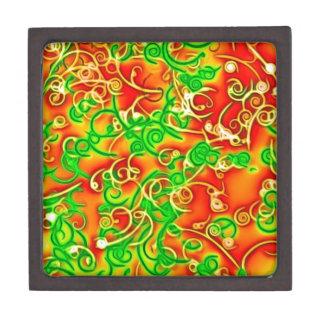 rojo brillante, verde caja de recuerdo de calidad