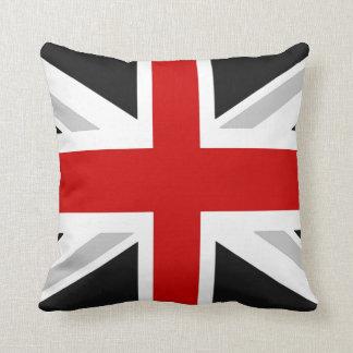 rojo británico del negro de la almohada de tiro de
