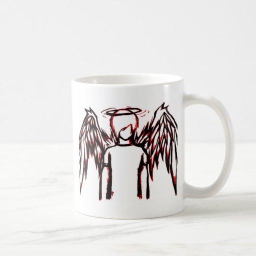 Rojo caido del ángel taza básica blanca