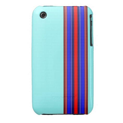 Rojo/caja de las rayas verticales de los azules iPhone 3 cárcasas