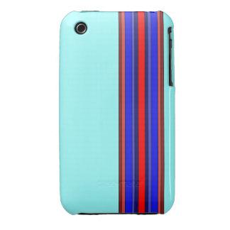 Rojo/caja de las rayas verticales de los azules iPhone 3 carcasas